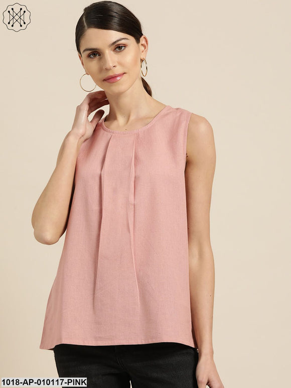 Baked Pink Sleeveless Back Tie Up Top