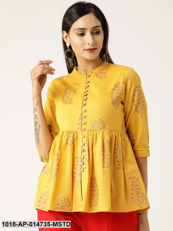 Mustard Floral Front Button Gathered Top