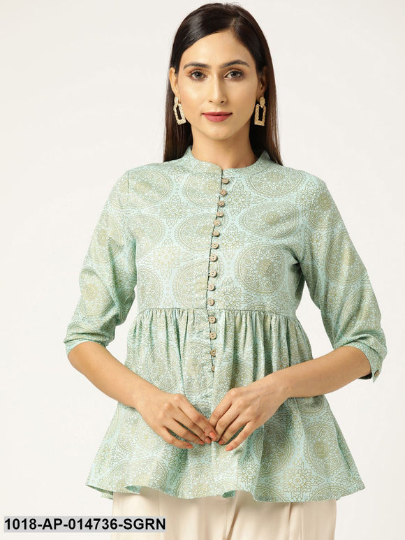 Sea Green Foil Print Front Button Gathered Top