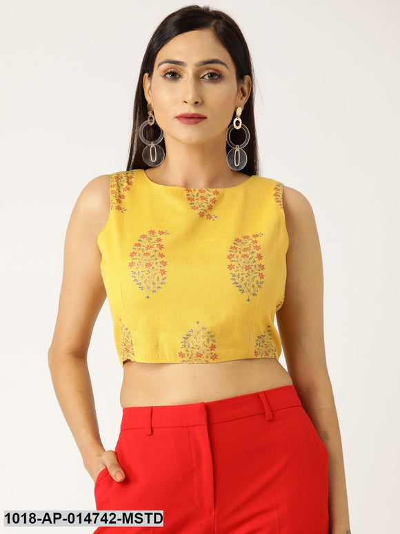 Mustard Floral Foil Sleeveless Crop Top