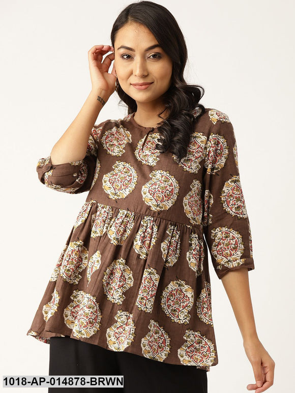 Brown Paisley Front Keyhole Peplum Top