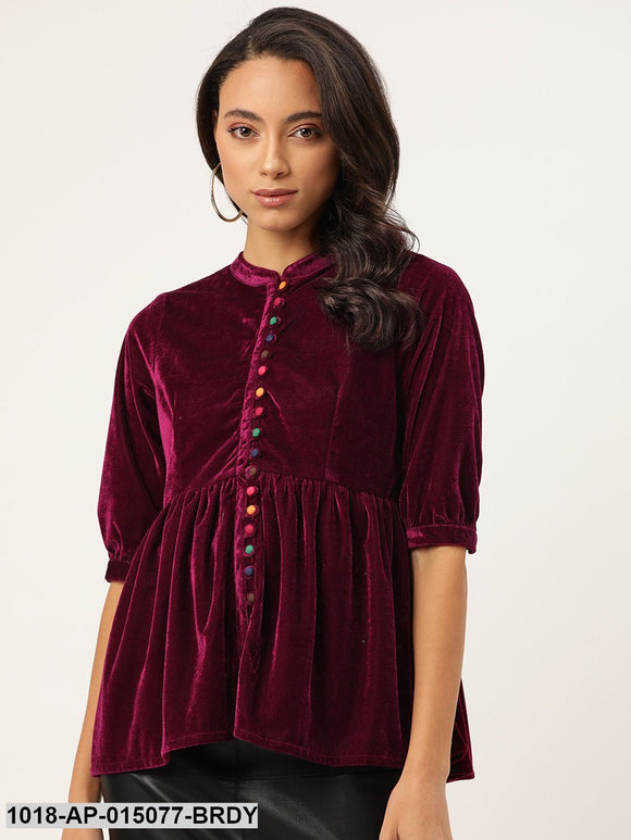 Burgundy Velvet Front Button Gathered Top