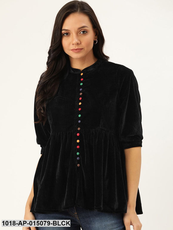 Black Velvet Front Button Gathered Top