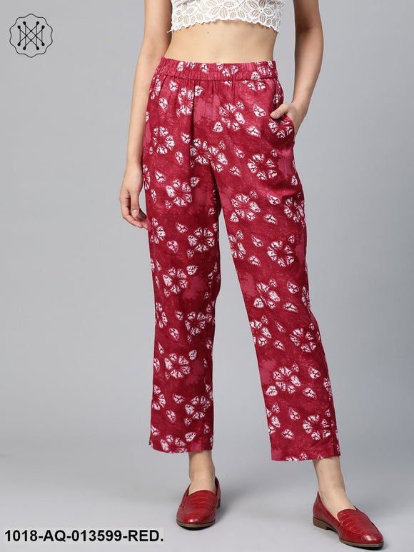 Red Tie & Dye Floral Tapered Pants