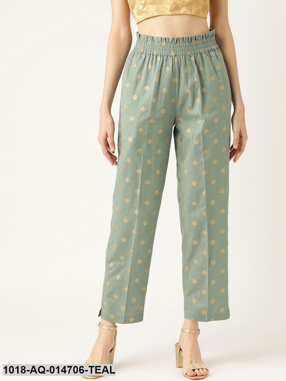 Teal Small Booti Foil Tapered Pants