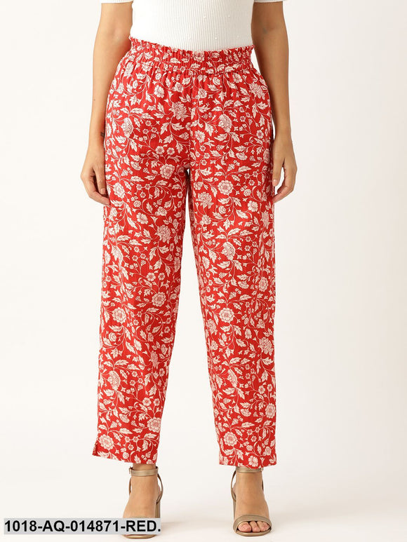 Red Floral Paper bag Tapered Pants