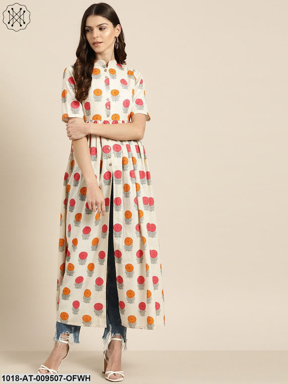 Off-White Floral Gathered Shirt Style Kurta