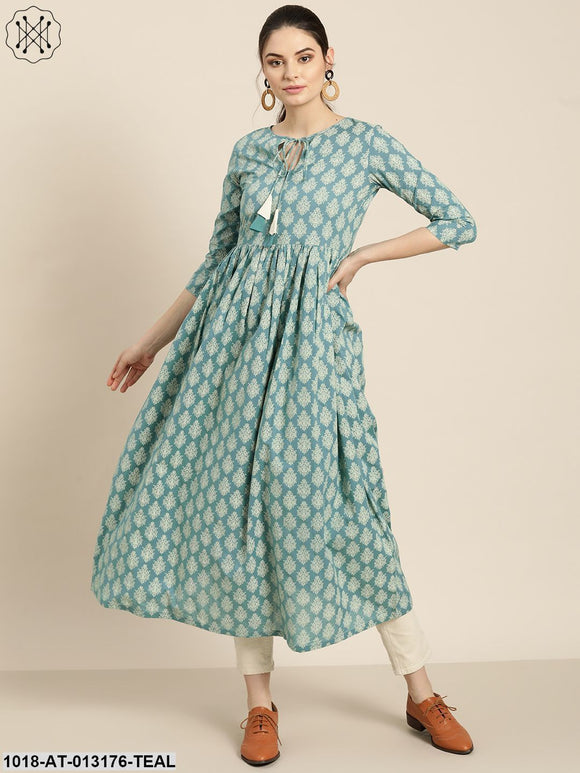 Teal Printed Front Keyhole Gathered Kurta
