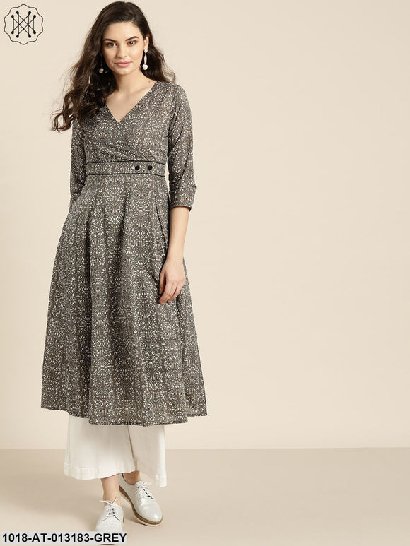 Grey Floral Wrap Anarkali Kurta