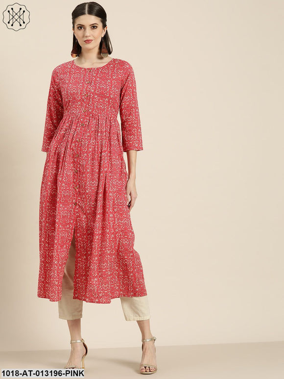 Pink Printed Gathered Front Button Kurta