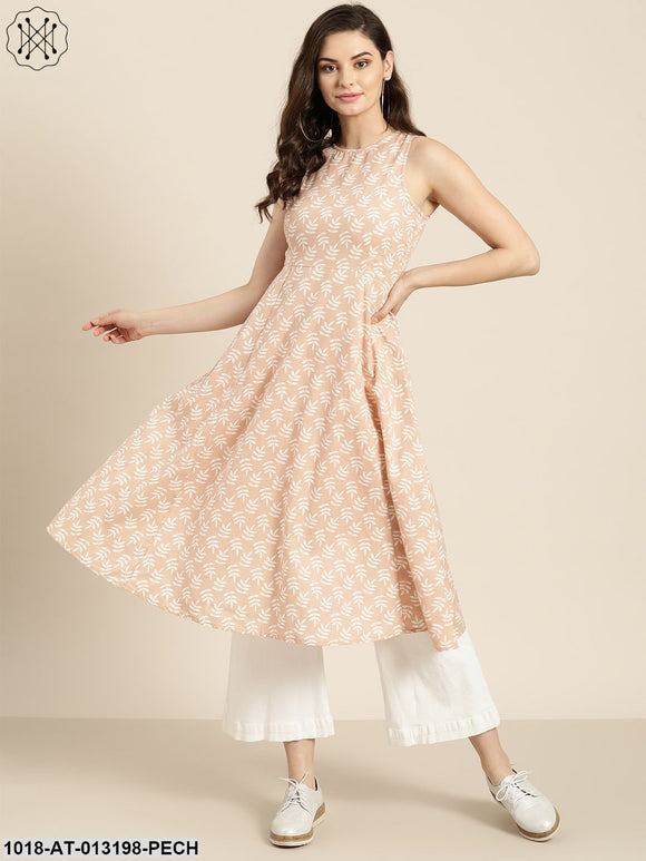 Peach Printed  Sleeveless Kurta