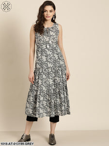 Grey Floral Sleeveless Tiered Kurta
