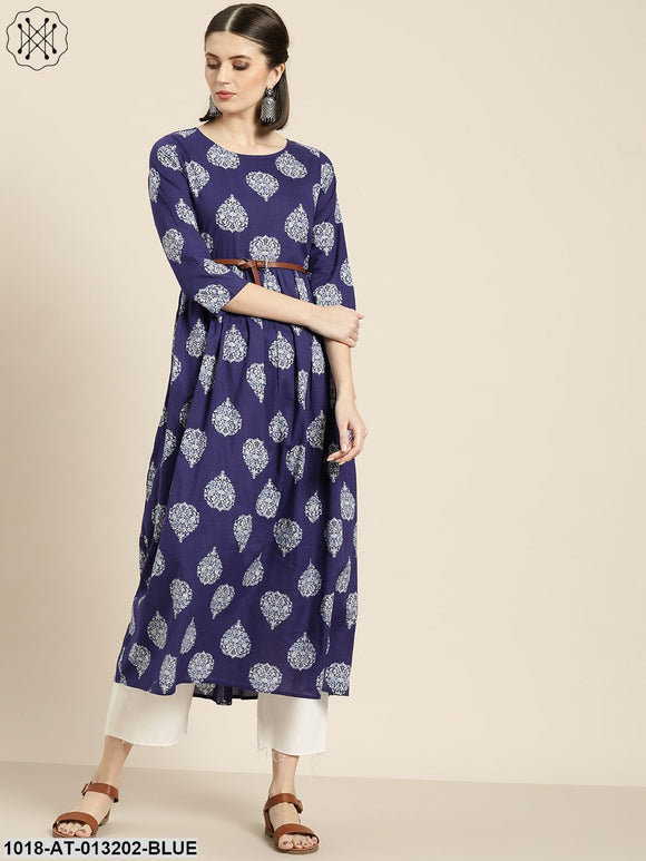 Blue Floral Booti Gathered Kurta