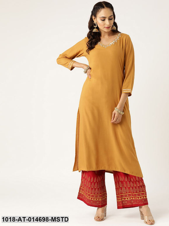 Mustard V Neck Embroidery Straight Kurta
