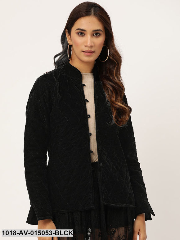 Black Velvet Full Sleeve Quilted Jacket