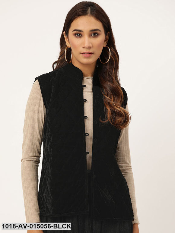 Black Velvet Sleeveless Quilted Jacket