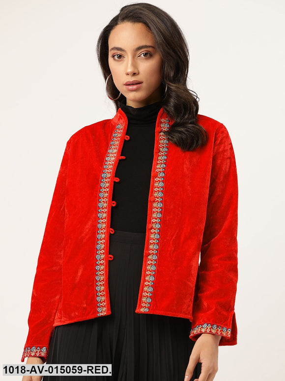Red Zari Embroidered Jacket