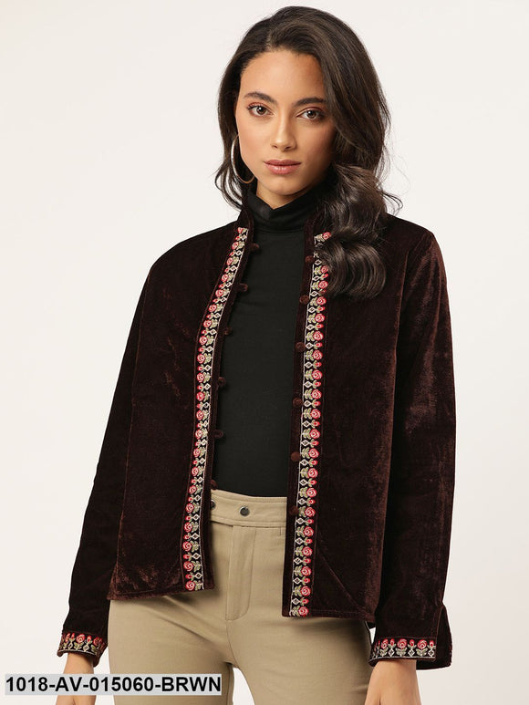 Brown Zari Embroidered Jacket