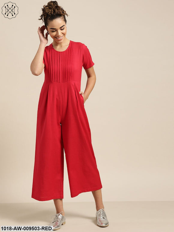 Red Pleated Jumpsuit