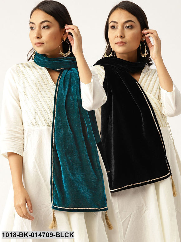 Black Velvet Scarf & Green Velvet Scarf (Set of 2)