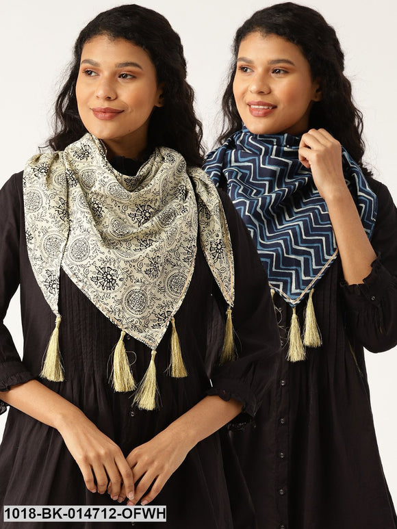 Off White Floral Scarf & Navy Chevron Scarf (Set of 2)