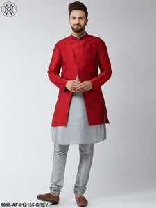 Silk Blend Grey Kurta Churidaar Pyjama & Maroon Sherwani Jacket Set