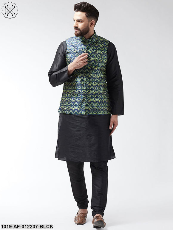 Silk Blend Black Kurta With Pyjama & Blue Printed Nehrujacket Combo