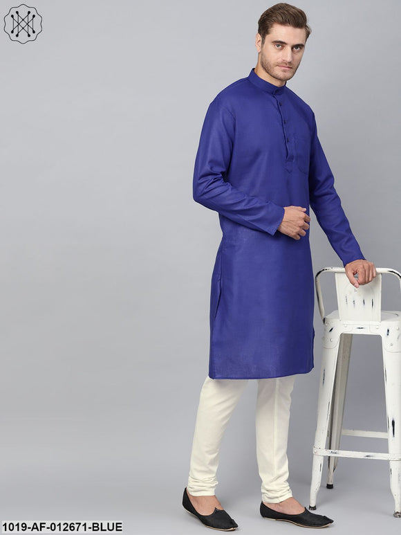 Cotton Linen Royal Blue Kurta And Off White Churidar Pyjama Set