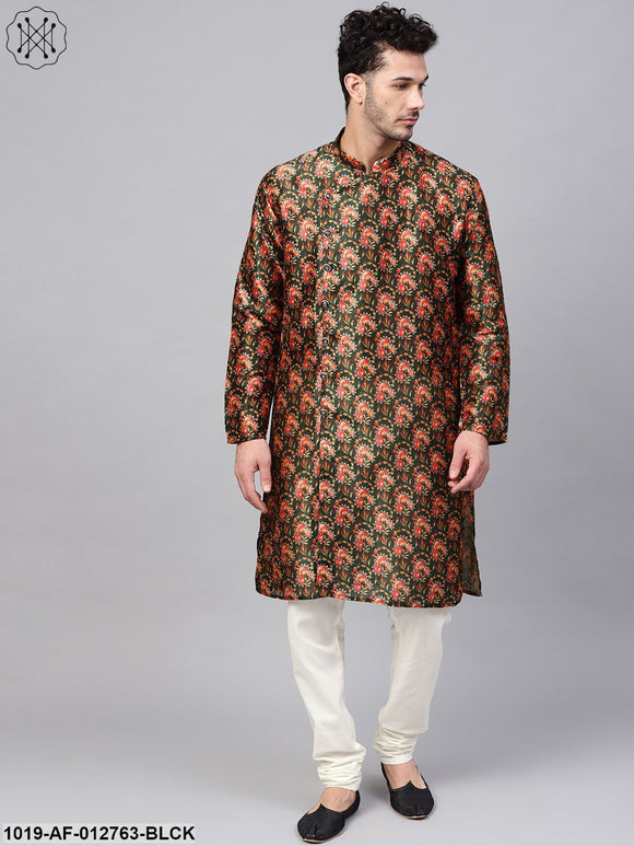 Silk Blend Black Printed Kurta & Off-White Churidar Pyjama Set