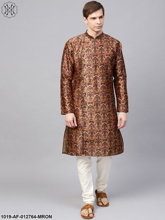 Silk Blend Maroon Printed Kurta & Off-White Churidar Pyjama Set