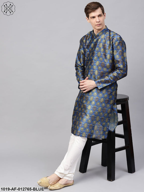 Silk Blend Blue Printed Kurta & Off-White Churidar Pyjama Set