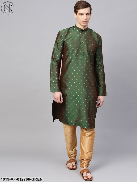 Silk Blend Dark Green Kurta & Gold Churidar Pyjama Set