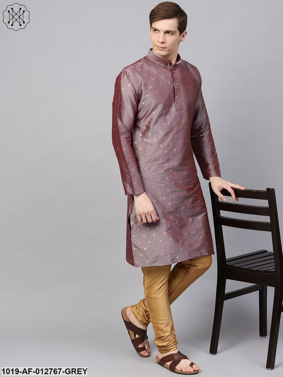 Silk Blend Grey Kurta & Gold Churidar Pyjama Set
