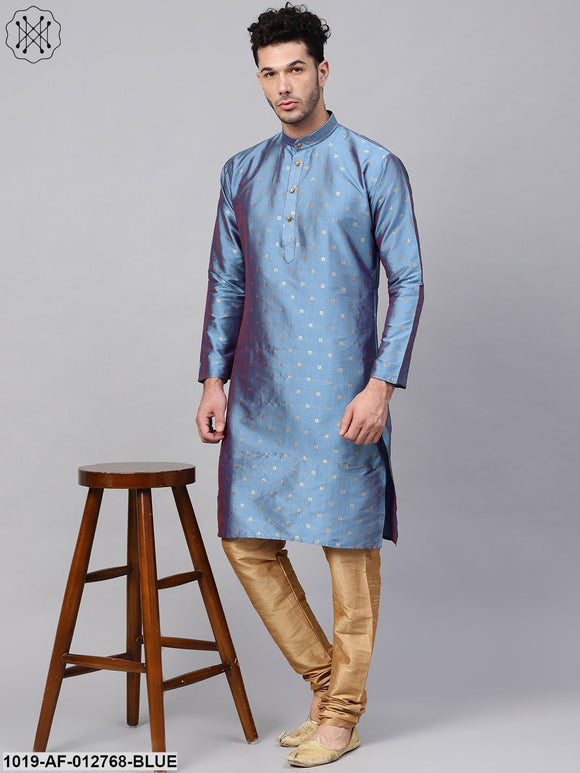 Silk Blend Blue Kurta & Gold Churidar Pyjama Set
