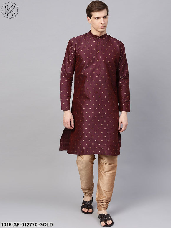 Silk Blend Wine Kurta & Gold Churidar Pyjama Set