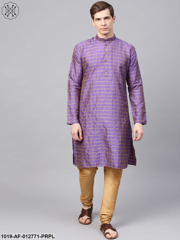 Silk Blend Purple Checked Kurta & Gold Churidar Pyjama Set