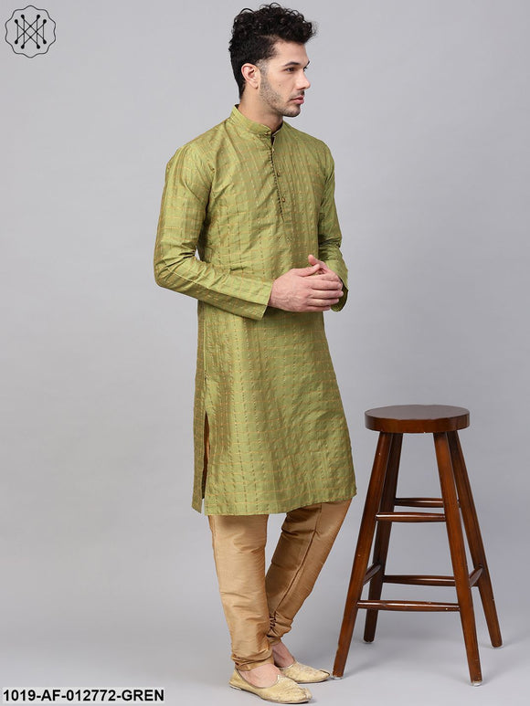 Silk Blend Green Checked Kurta & Gold Churidar Pyjama Set