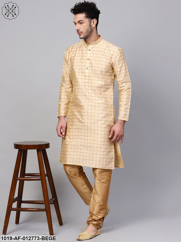 Silk Blend Beige Checked Kurta & Gold Churidar Pyjama Set