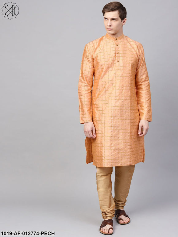 Silk Blend Peach Checked Kurta & Gold Churidar Pyjama Set