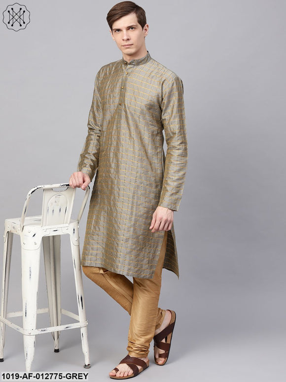 Silk Blend Grey Checked Kurta & Gold Churidar Pyjama Set