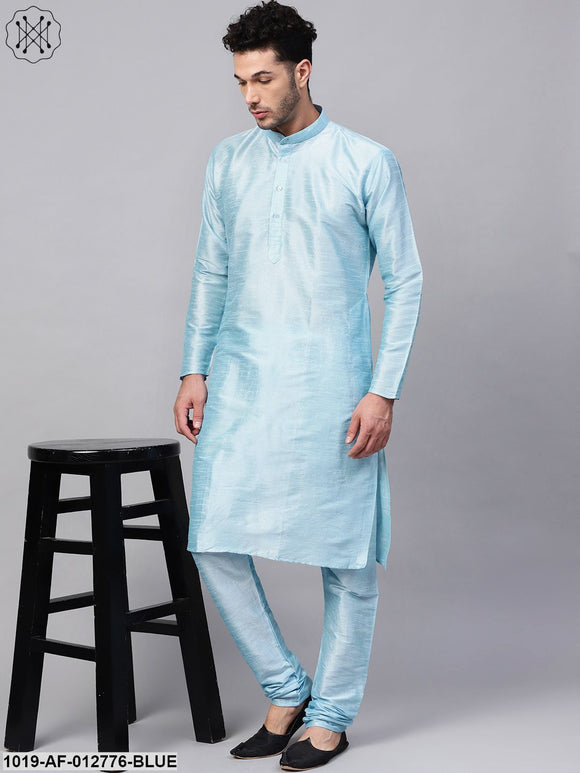 Silk Blend Sky Blue Kurta & Churidaar Pyjama Set