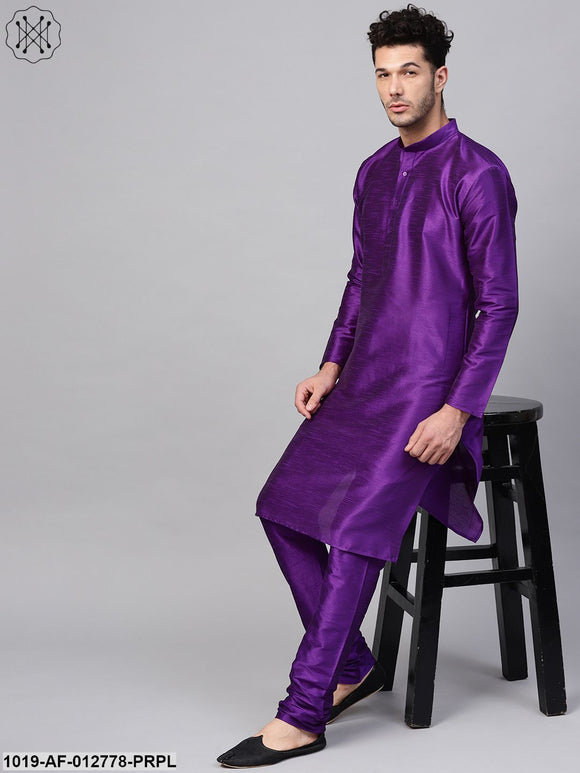 Silk Blend Purple Kurta & Churidaar Pyjama Set