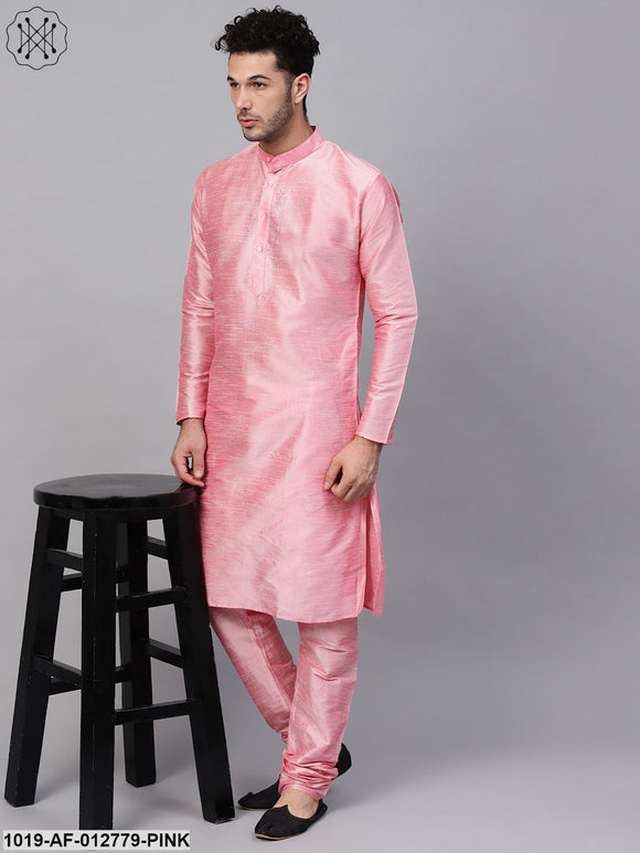 Silk Blend Pink Kurta & Churidaar Pyjama Set