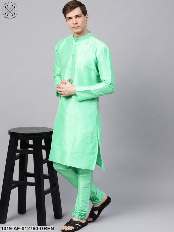 Silk Blend Light Green Kurta & Churidaar Pyjama Set