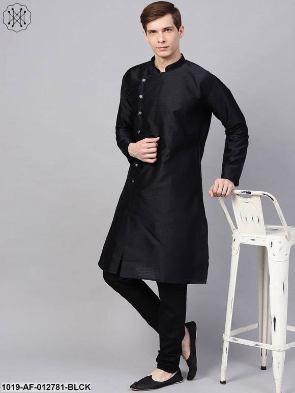 Silk Blend Black Kurta & Black Churidar Pyjama Set