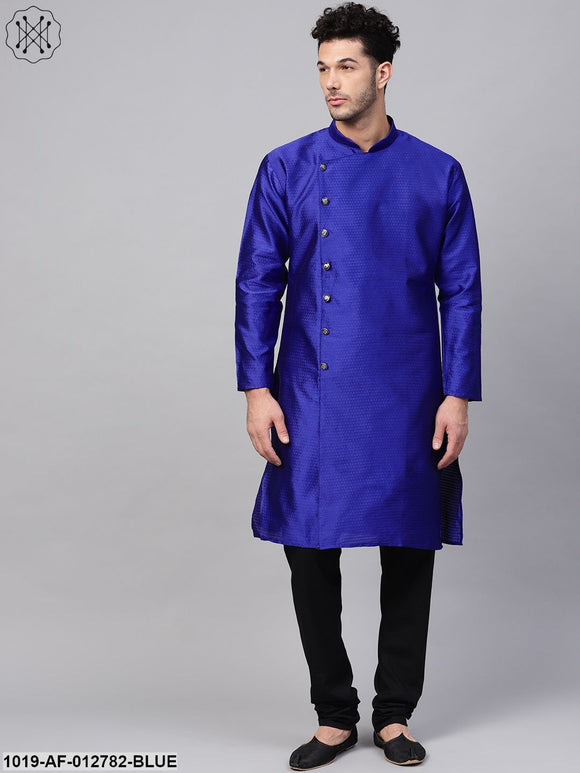 Silk Blend Royal Blue Kurta & Black Churidar Pyjama Set