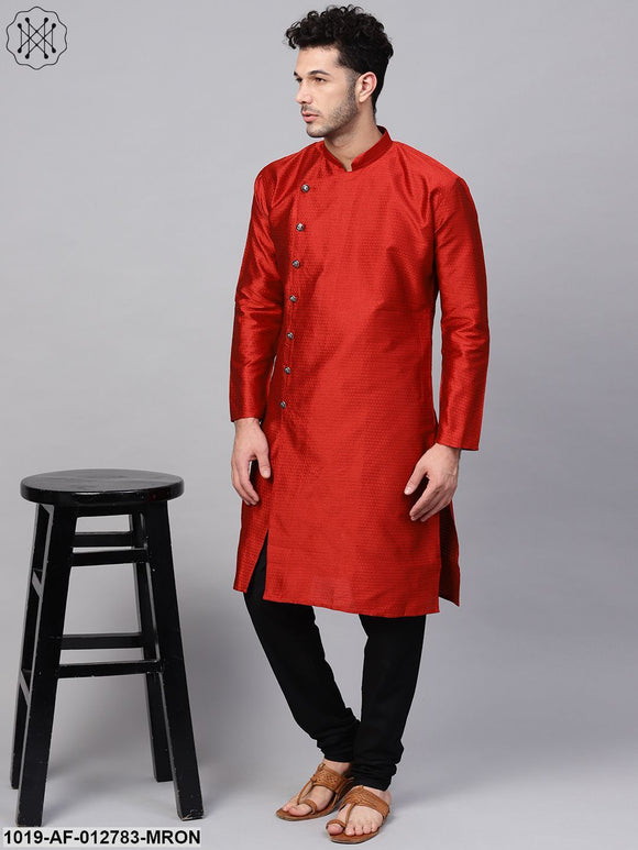Silk Blend Maroon Kurta & Black Churidar Pyjama Set