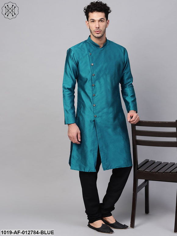 Silk Blend Peacock Blue Kurta & Black Churidar Pyjama Set