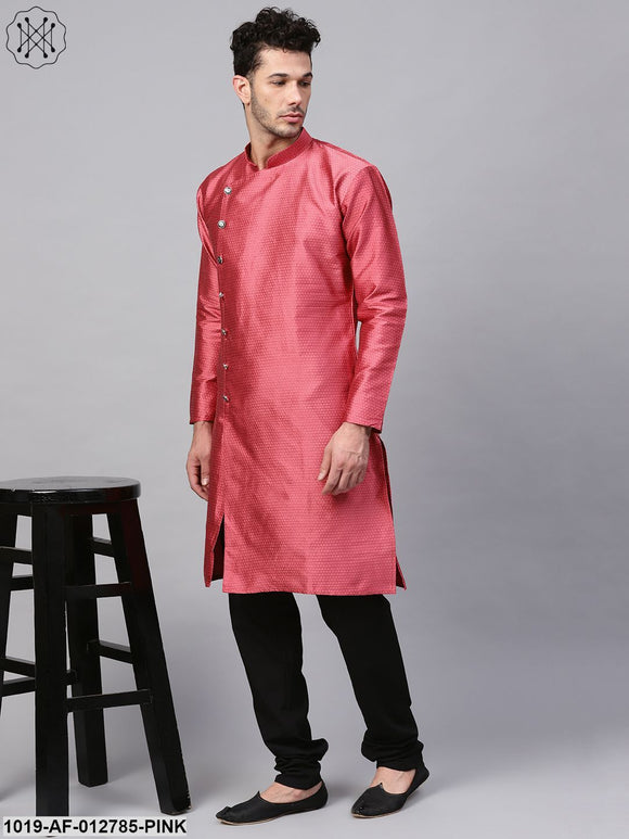 Silk Blend Pink Kurta & Black Churidar Pyjama Set