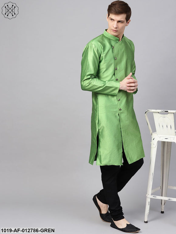 Silk Blend Green Kurta & Black Churidar Pyjama Set